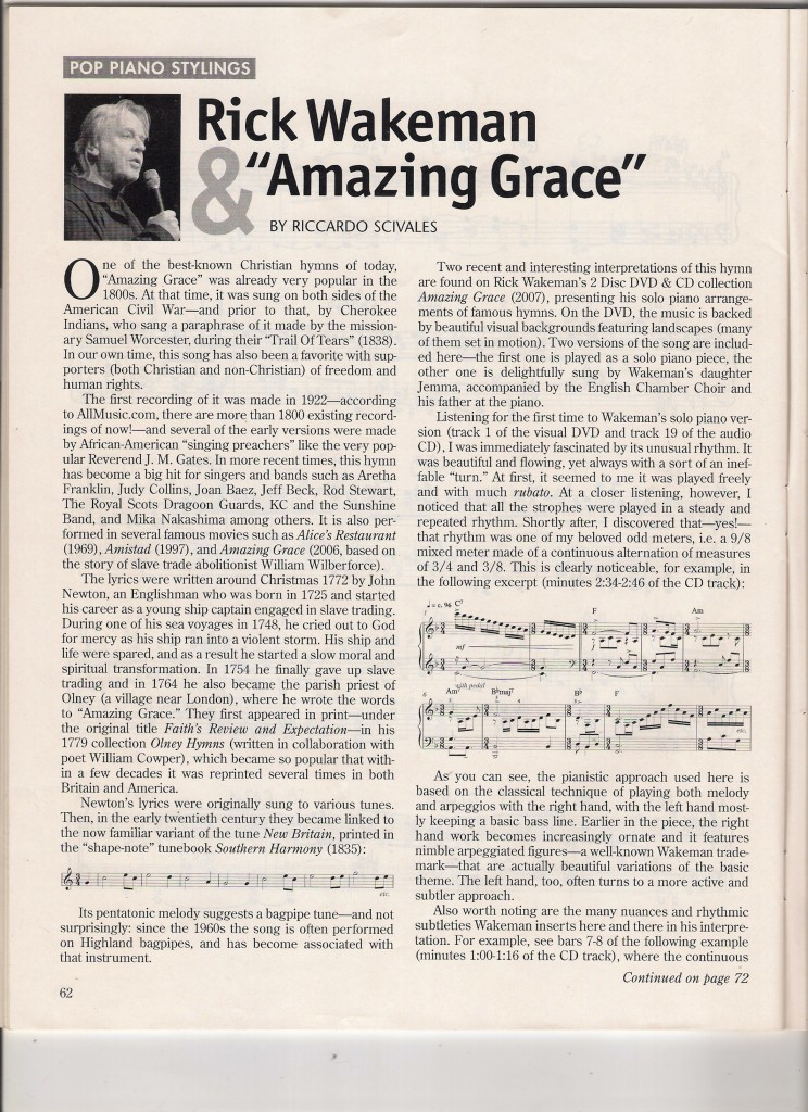 WAKEMAN & AMAZING GRACE (Riccardo Scivales), Sheet Music Magazine, Summer 2009