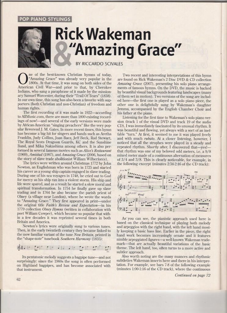 WAKEMAN & AMAZING GRACE (Riccardo Scivales), Sheet Music Magazine, Summer 2009